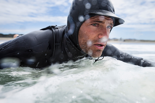 Surfer, Wetsuit Guy Closeup Water in Face