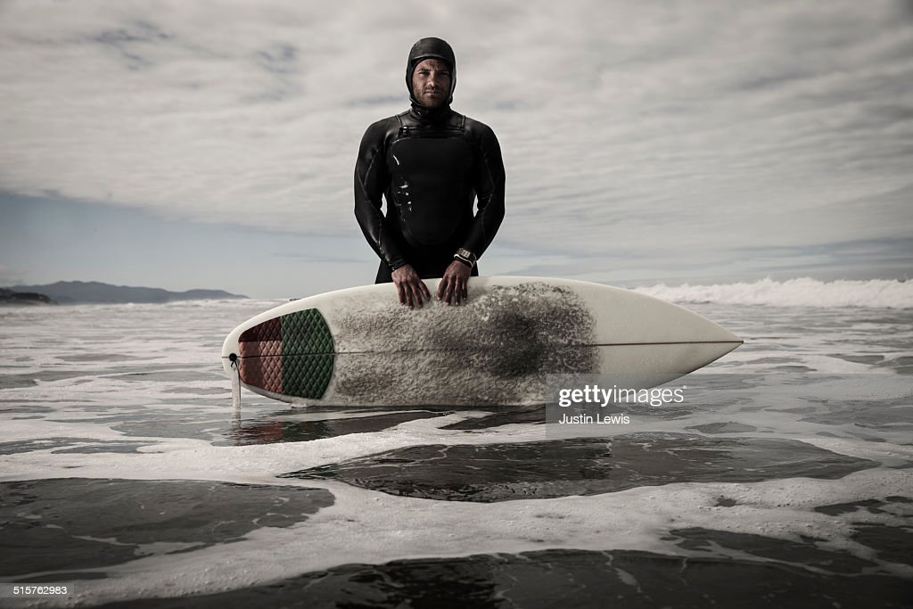 Surfer, Wetsuit, Watch, in Ocean Shallows