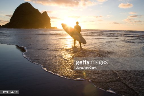 Surfer with surf board