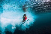 Surfer woman with surfboard dive underwater with under ocean wave.