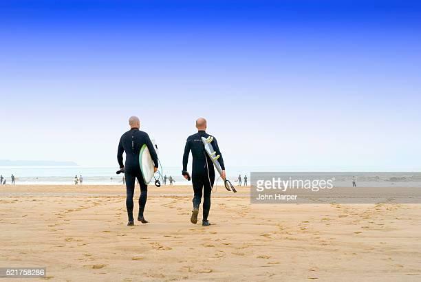 Surfers at Croyde Bay