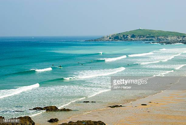 Surfers at Fistral Beach, Newquay, Cornwall