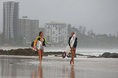Surfers head out Snapper Rocks as Cyclone Marcia approaches the coast of Queensland on February 19 2015 in Gold Coast Australia Cyclone Marcia is a...