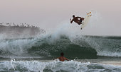 Surfers in action during a big swell in the late afternoon sun at Arpoador Beach near Apoador Point Rio de Janeiro Brazil 18th August 2010 Photo by...