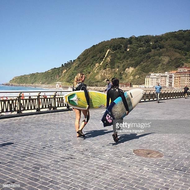 Surfers in Zurriola Beach