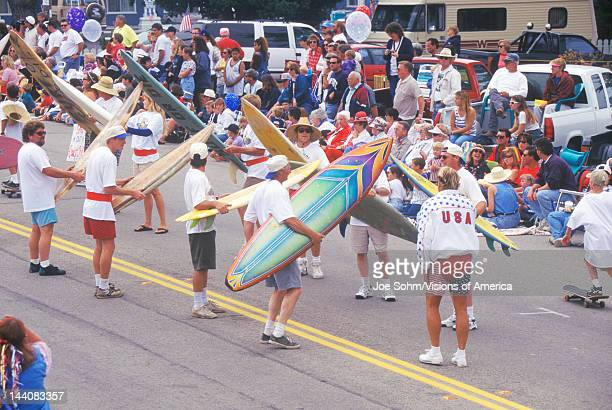 Surfers Marching in July 4th Parade Cayucos California