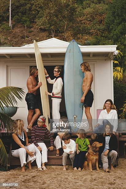 Surfers outside a beach hut in Laguna Beach California January 1970