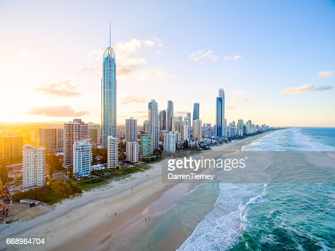 Surfers Paradise aerial image at sunset : Stock Photo