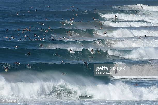 Surfers ride waves at Coolangatta ahead of next month's Gold Coast Quiksilver Pro on February 23 2016 on the Gold Coast Australia