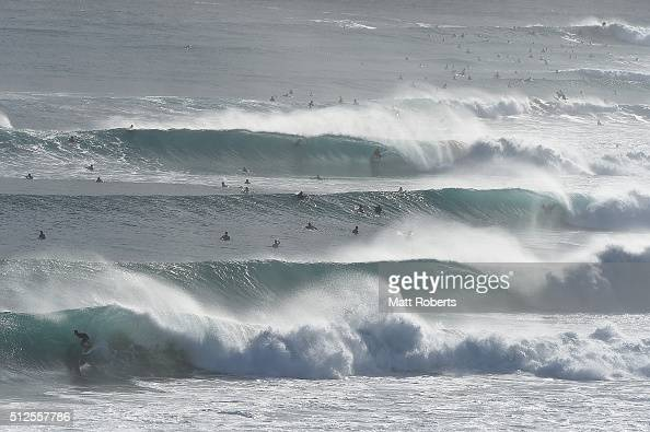 Surfers ride waves at Coolangatta ahead of next month's Gold Coast Quiksilver Pro on February 27 2016 in Gold Coast Australia