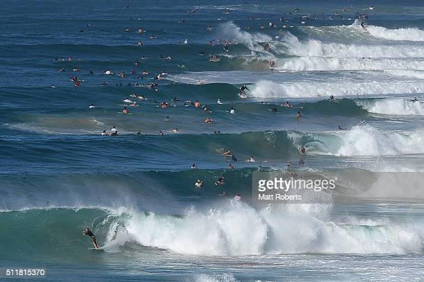 Surfers ride waves at Coolangatta ahead of this month's Gold Coast Quiksilver Pro on February 23 2016 on the Gold Coast Australia