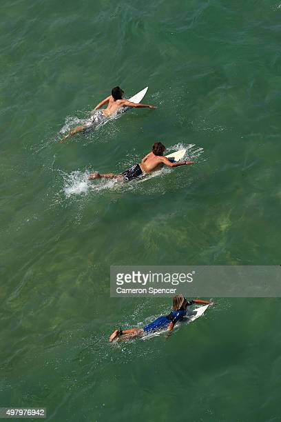 Surfers wait for a wave at Freshwater beach on November 20 2015 in Sydney Australia The East coast of Australia has has been experiencing a heatwave...