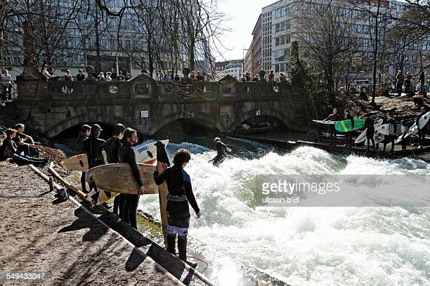 Surfing at the Eisbach Munich Germany