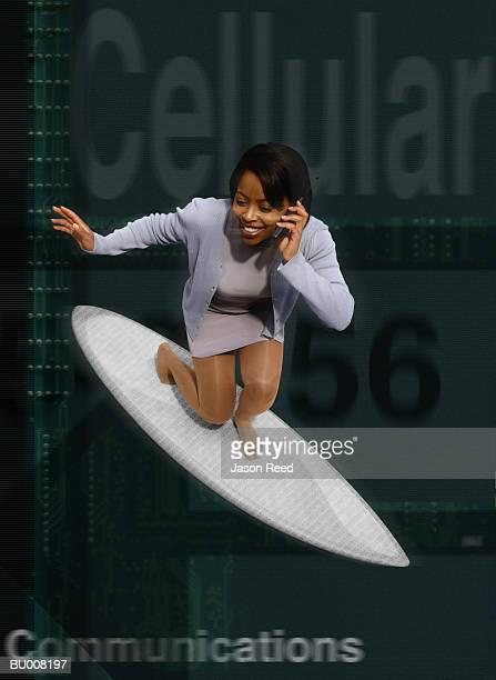 Surfing Businesswoman