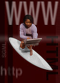 Surfing Businesswoman