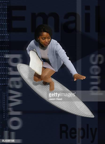 Surfing Businesswoman with Computer Keyboard