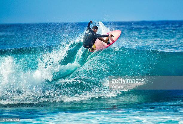 Surfing in the Beach of Kauai Hawaii Horizontal