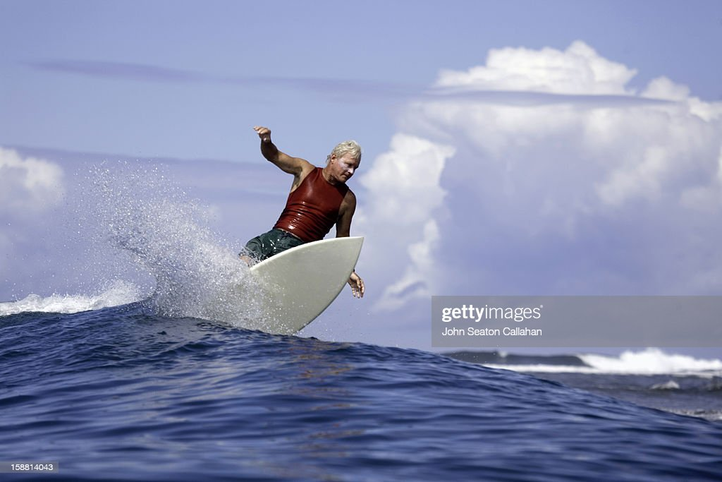 surfing in the Indian Ocean, Randy Rarick (USA). : Stock Photo