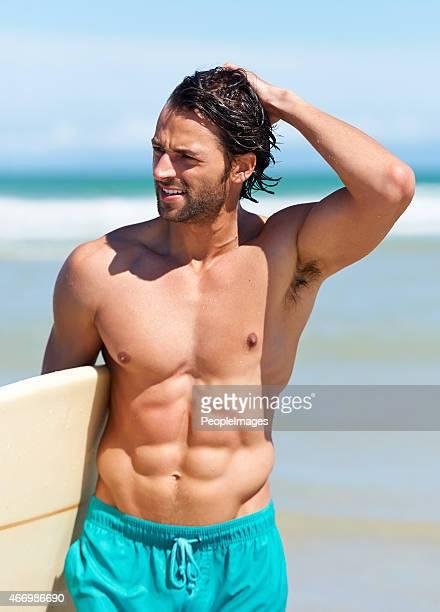 Surfing keeps him in great shape