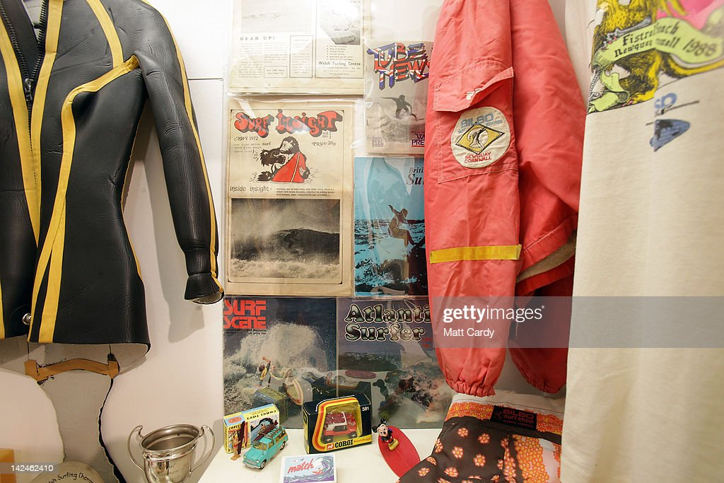 Surfing memorabilia is displayed inside the new museum on April 5, 2012 in Braunton, England. The museum, which is the first in Europe dedicated to surfing, opens to the public tomorrow. The Devon-based charity, which originally started online, holds the largest surfboard collection in Britain. As well as the collection of surfboards dating back over 100 years, the museum also holds early wetsuits, photos and other memorabilia relating to the phenomenal growth in the popularity of surfing. Surfing is now a multi-million pound industry and employs 1000s of people in the UK.