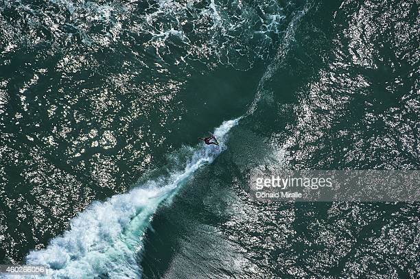 US Open of Surfing Aerial view of Josh Kerr in action during Men's 3rd Round at Surf Stadium Photo shot from the Goodyear Blimp Huntington Beach CA...