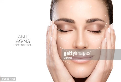 Di chirurgia e Anti invecchiamento concetto. Donna bellezza viso Centro benessere : Foto stock