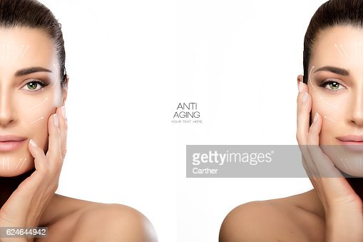 Surgery and Anti Aging Concept. Two Half Face Portraits : Foto stock