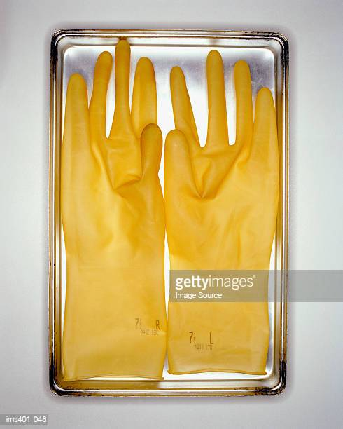 Surgical gloves on metal tray