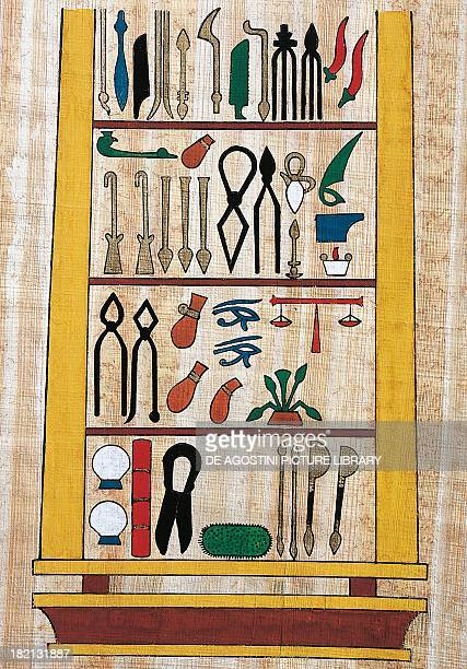 Surgical instruments papyrus reconstruction of a relief from the Temple of Kom Ombo original dating from the reign of Ptolemy V Egyptian civilisation...