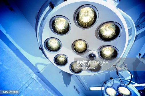 Surgical lamps in operation room : Stock Photo