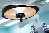 Surgical light in operating room.