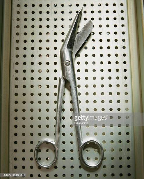 Surgical scissors, overhead view, close-up