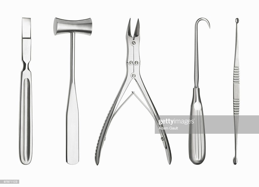 Surgical tools in a row : Stock Photo