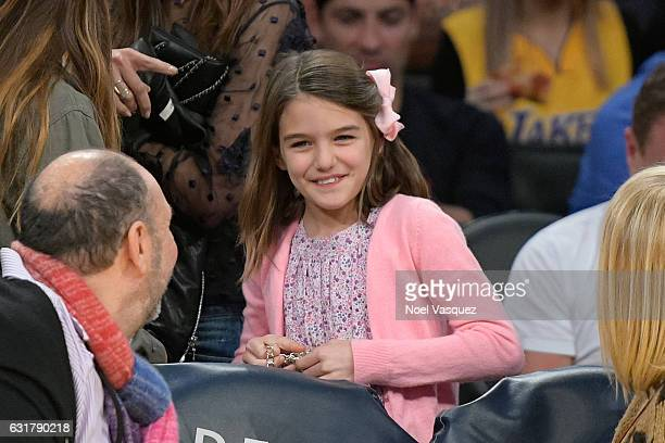 Suri Cruise attend a basketball game between the Detroit Pistons and the Los Angeles Lakers at Staples Center on January 15 2017 in Los Angeles...