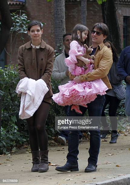 Suri Cruise daughter of actors Tom Cruise and Katie Holmes is seen dressed up like a flamenco dancer in Mara Luisa Park on December 9 2009 in Seville...