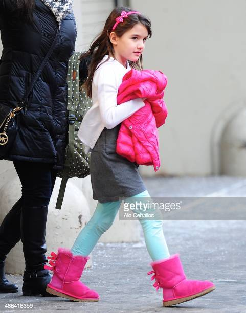 Suri Cruise is seen leaving school in Chelsea on February 10 2014 in New York City