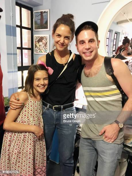 Suri Cruise Katie Holmes and Tony Winner Ben Platt pose backstage at the hit musical 'Dear Evan Hansen'on Broadway at The Music Box Theatre on July...