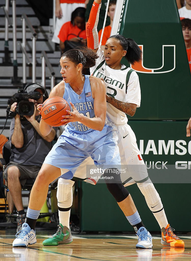 Suriya McGuire #33 of the Miami Hurricanes defends against Krista Gross #21 of the North Carolina Tar Heels on January 27, 2013 at the BankUnited Center in Coral Gables, Florida.