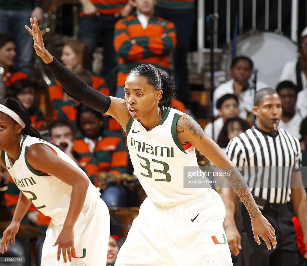 Suriya McGuire #33 of the Miami Hurricanes plays defense against the Georgia Tech Yellow Jackets on January 17, 2013 at the BankUnited Center in Coral Gables, Florida. Miami defeated Georgia Tech 71-65.