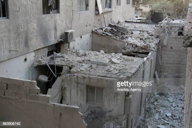 Suriye'de Esed rejimine bal güçlerin bakent am'da 'gerginlii azaltma' bölgeleri arasnda yer alan Dou Guta'daki Kafr Batna beldesine düzenledii füzeli...