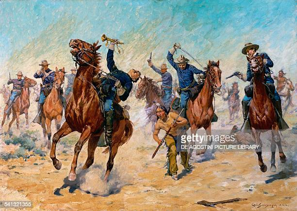 Surprise attack the US Cavalry battle against the Indians painting by Charles Schreyvogel United States of America 19th century