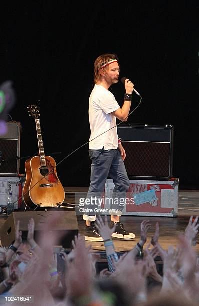 Surprise guest Thom Yorke of Radiohead perfoms on The Park stage at Glastonbury Festival at Worthy Farm Pilton on June 25 2010 in Glastonbury England...
