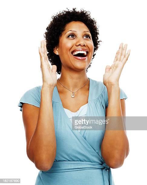 Surprised businesswoman laughing
