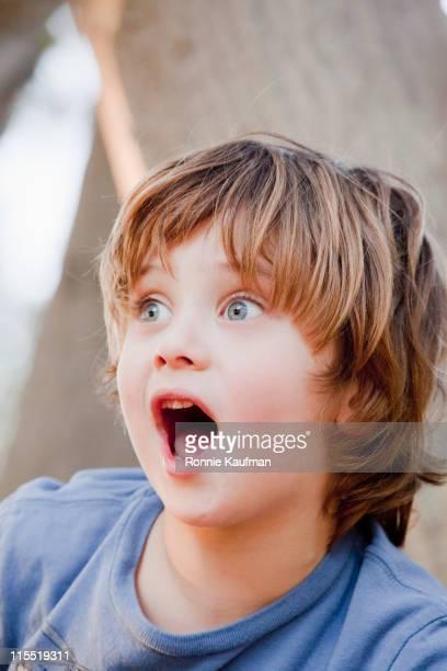 Surprised Caucasian boy