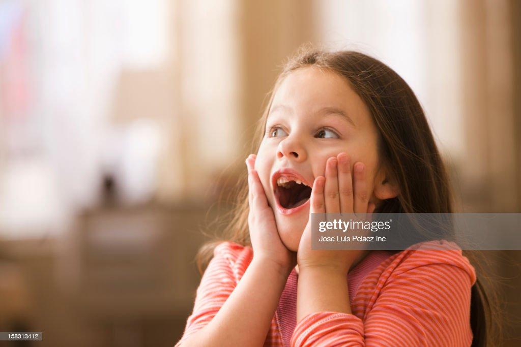 Surprised Caucasian girl : Stock Photo