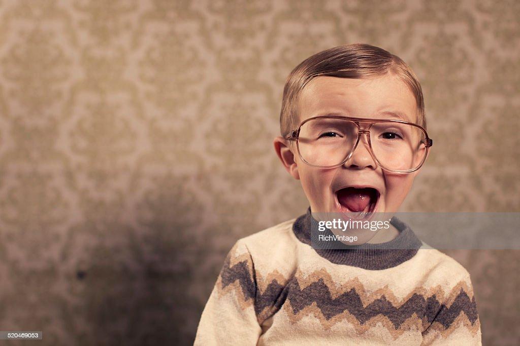 Surprised Little Nerd : Stock Photo