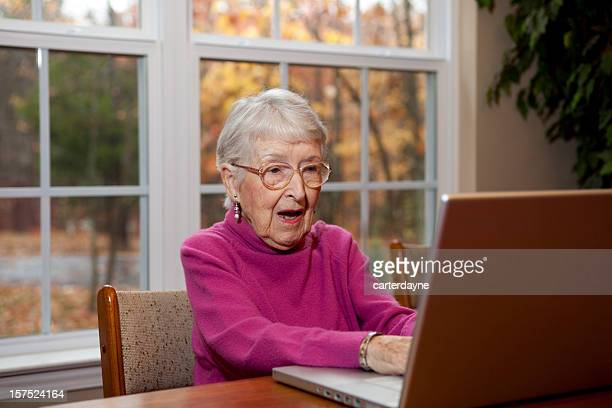 Surprised or Shocked Senior Woman, Grandmother at Computer