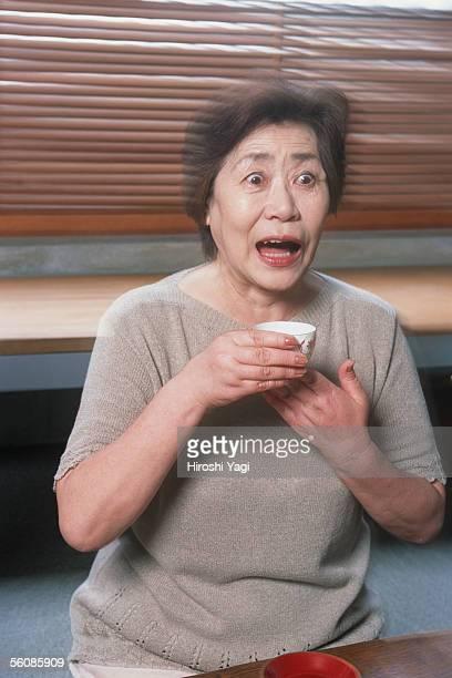 Surprising senior woman