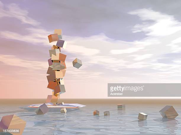Surreal abstract of losing wealth
