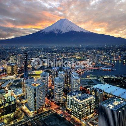 Surreal aerial view of Yokohama and Mount Fuji : Stock Photo